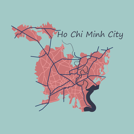 Flat ho chi minh city administrative map Çizim