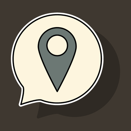 Sticker Navigation geolocation icon. vector illustration in flat design on background