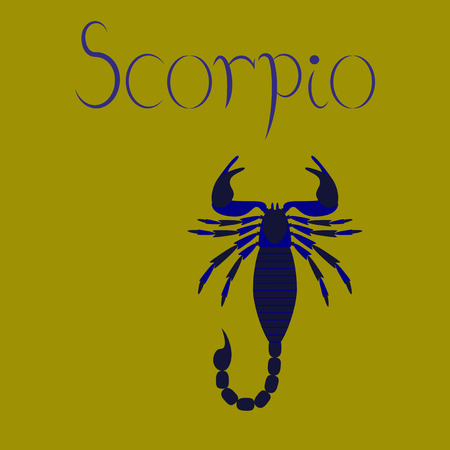 Flat vector illustration on background Scorpio. Vectores