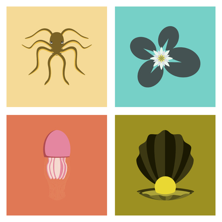 Assembly flat Illustrations octopus jellyfish water lily pearl mussel. Ilustração