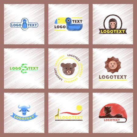 Assembly flat shading style icons logo bear lion giraffe penguin snake monkey bird bull