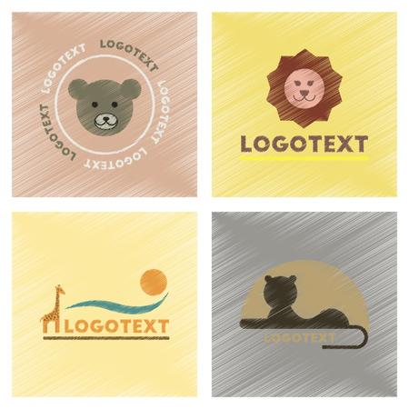 assembly flat shading style icons logo bear lion giraffe Stock Vector - 97360064