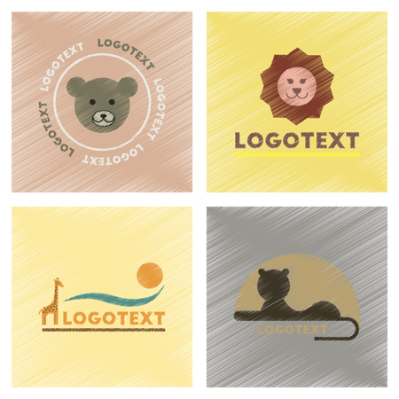 assembly flat shading style icons logo bear lion giraffe