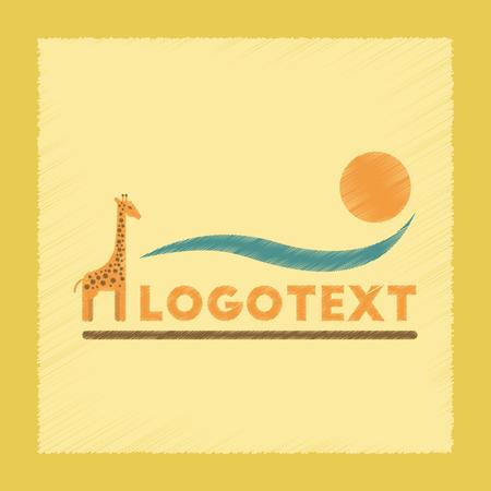 Flat shading style icon giraffe logo Illustration