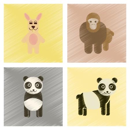 Assembly flat shading style icons Panda monkey rabbit
