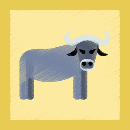 flat shading style icon cartoon bull Vector illustration.