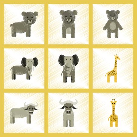 assembly flat shading style icons of giraffe, bull, bear, elephant Vettoriali