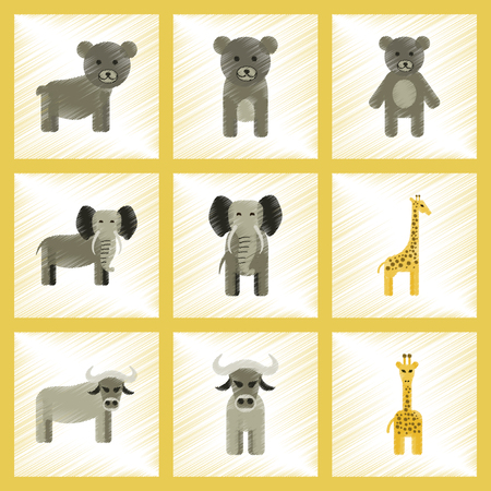 assembly flat shading style icons of giraffe, bull, bear, elephant Illustration