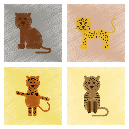 assembly flat shading style icons cartoon of panther, tiger, leopard