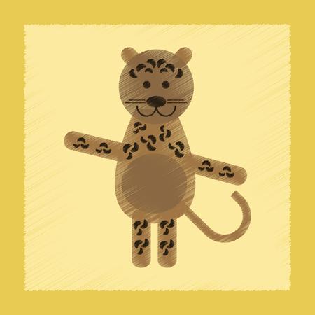 flat shading style icon of cartoon leopard Vector illustration.