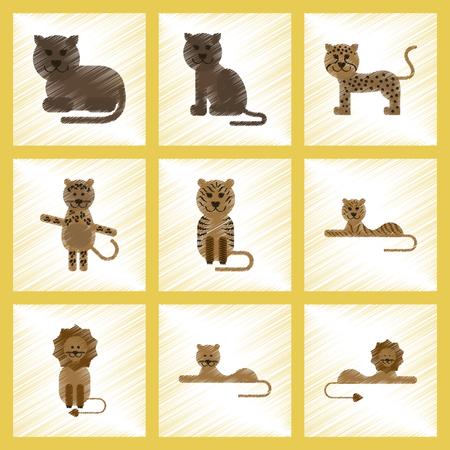assembly flat shading style icons of cartoon tiger, lion, panther, leopard Ilustração