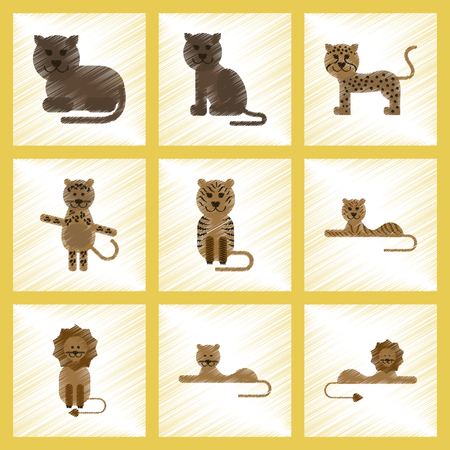 assembly flat shading style icons of cartoon tiger, lion, panther, leopard Stock Illustratie