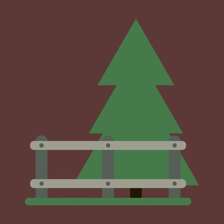 Vector illustration of flat icon Fenced spruce