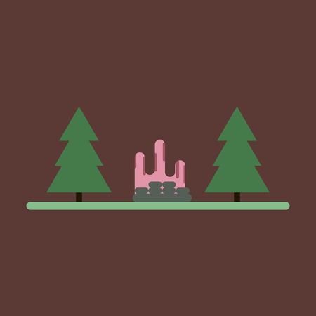 Vector illustration of flat icon Bonfire in forest