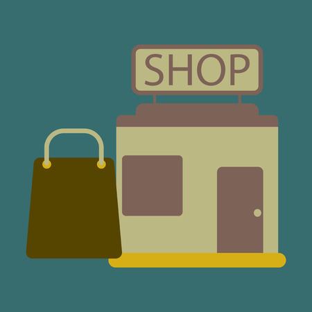 Vector illustration of flat icon shop package