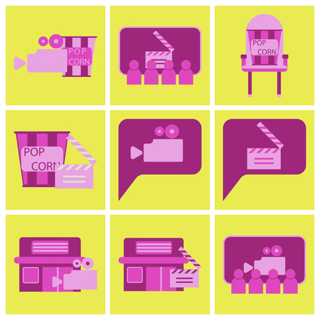 Vector illustration of flat icons set cinema with camera, clapper and pop corn