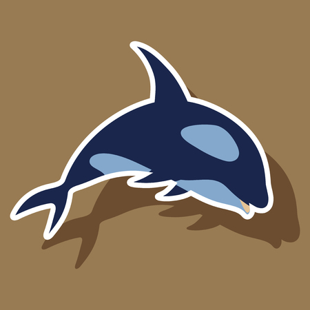 paper sticker on theme Save whales. killer whale Illustration