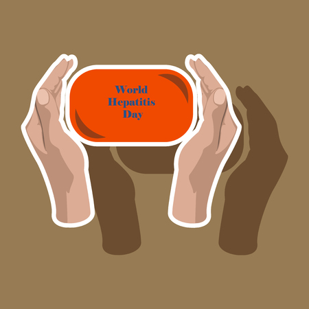 Paper sticker on theme world hepatitis day . soap in hands