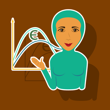 paper sticker on theme Arabic business Muslim Businesswoman Illustration