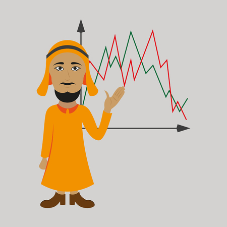 flat icon on theme Arabic business Muslim and graph