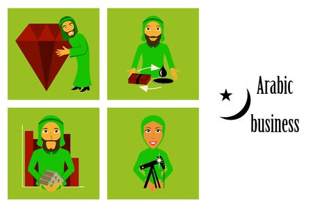 assembly of flat icons on theme Arabic business