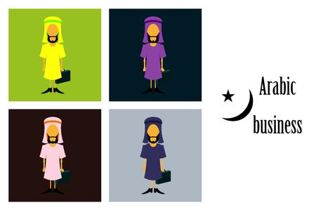 Montaje de iconos planos sobre tema árabe empresario árabe