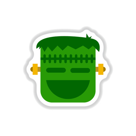 Paper sticker on background of halloween monster