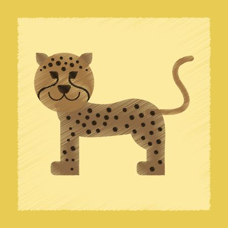 flat shading style icon cartoon leopard