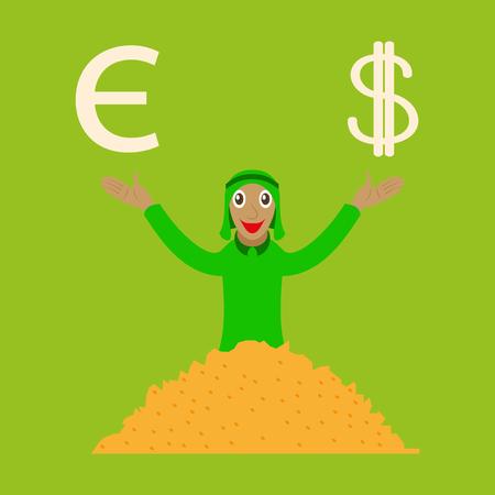 flat icon on theme Arabic business arabic businessman with money