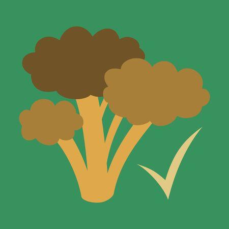 Broccoli flat illustration isolated on background, vegetarian food. Stock Illustratie