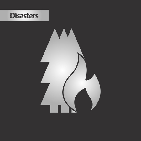black and white style forest fire Illustration
