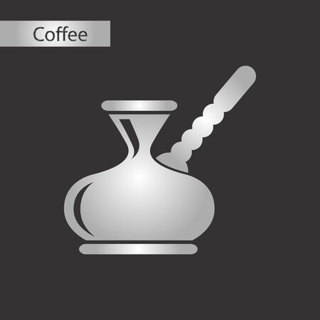 Black and grey style coffee turk on a black background