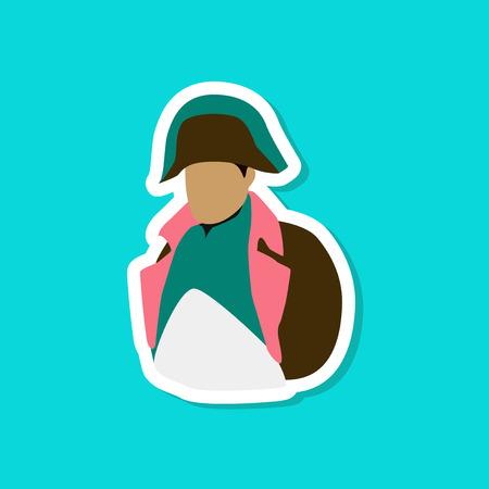 paper sticker on stylish background Napoleon Vector illustration. Vector Illustration