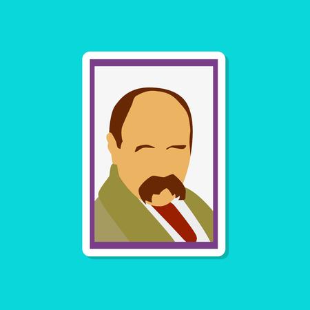 paper sticker on stylish background Taras Shevchenko Vector illustration.