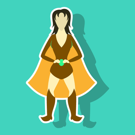 Superhero woman.Female cartoon character . Icon in sticker style