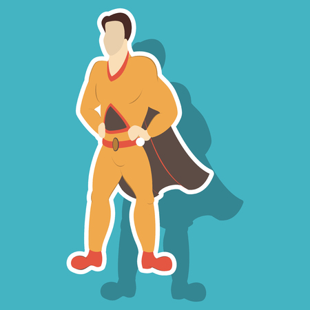 Superhero cartoon icon with superman on background isolated sticker illustration