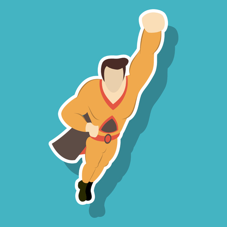 Superhero cartoon icon on background isolated sticker illustration Illustration