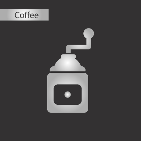 black and white style coffee grinder Vector illustration.