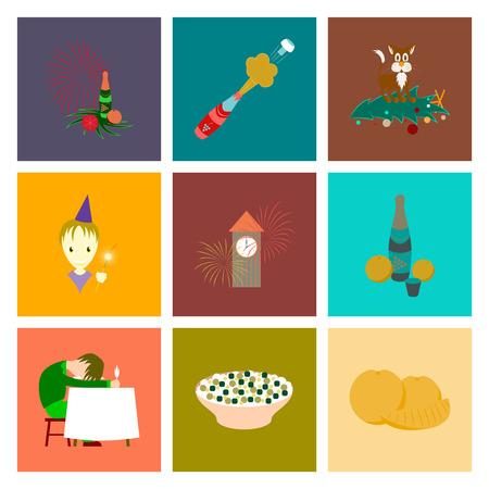 A assembly flat illustration Christmas celebration isolated on plain background.