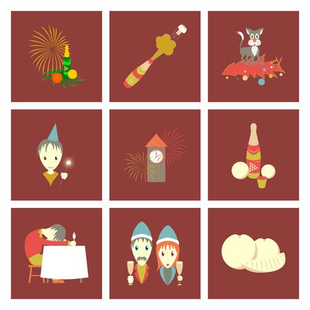 Montage flache Illustration der Weihnachtsfeier auf braunem Hintergrund Standard-Bild - 98467193