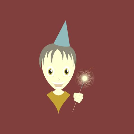 Flat illustration of a boy with party hat holding a sparkler. Illustration