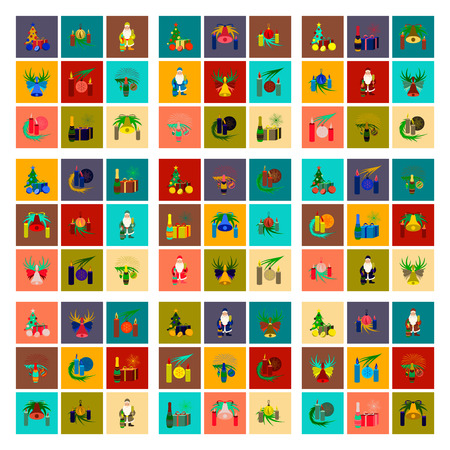 A assembly flat illustration Christmas tree bells toys isolated on plain background.