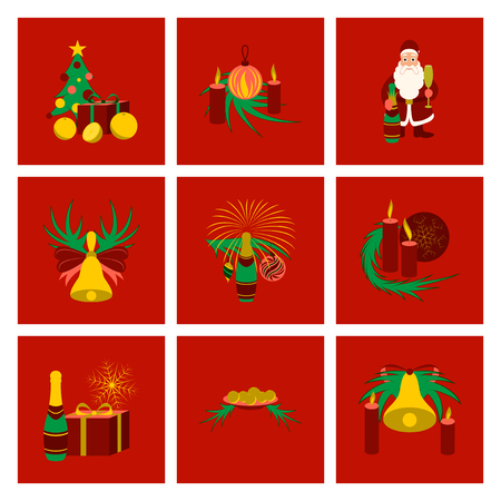 Assembly flat illustration Christmas tree bells toys Vectores