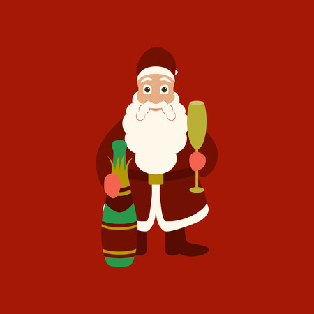 Flat illustration on background of Santa Claus Иллюстрация