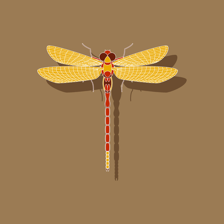 paper sticker on background of dragonfly