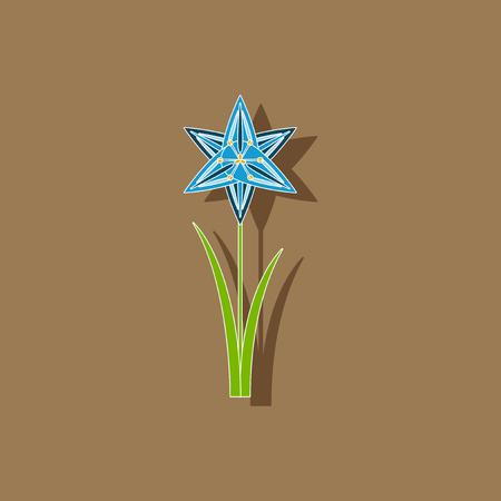 paper sticker on background of flower narcissus Illustration