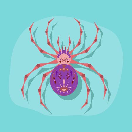 paper sticker on stylish background halloween spider Stock Illustratie