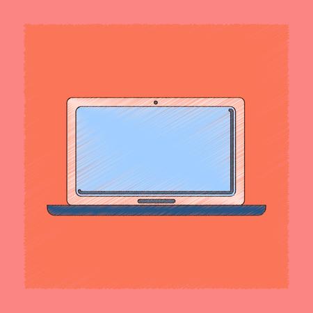 Flat shading style icon of technology laptop illustration. Illustration