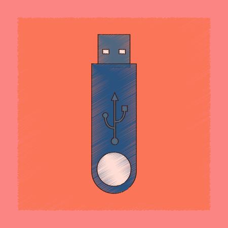 Flat shading style icon of flash drive illustration.
