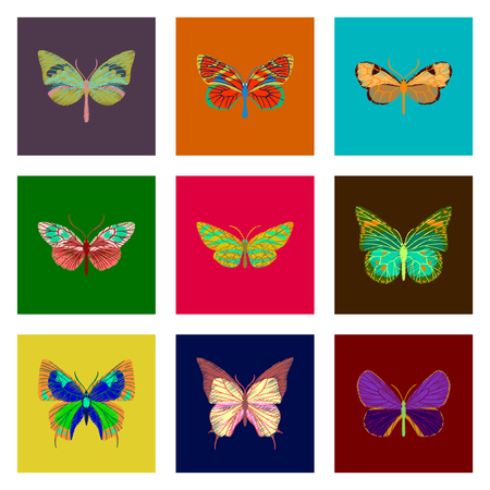 A set of flat shading style icon butterfly